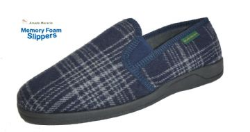 Men's Classic Check Slippers Navy